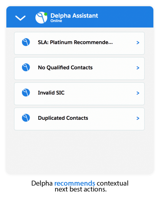 Screenshot of recommendations from Delpha Assistant Conversation