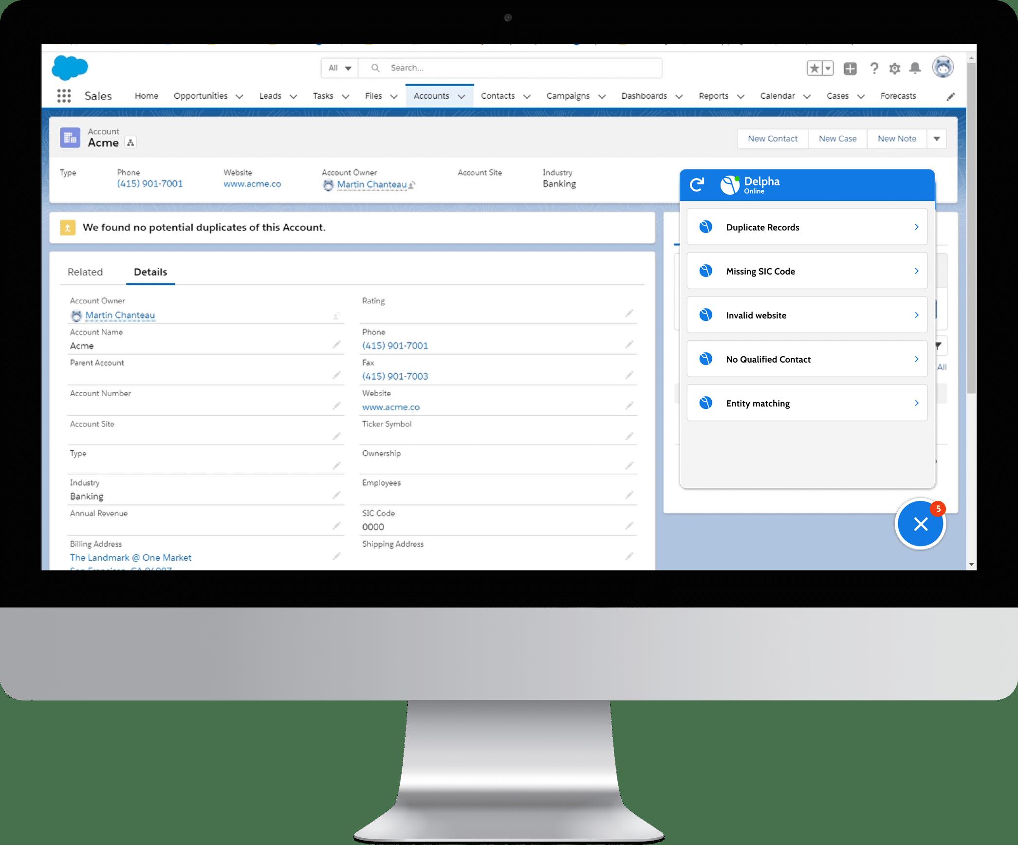 Delpha delivers actionable insights via convenient UI inside Salesforce