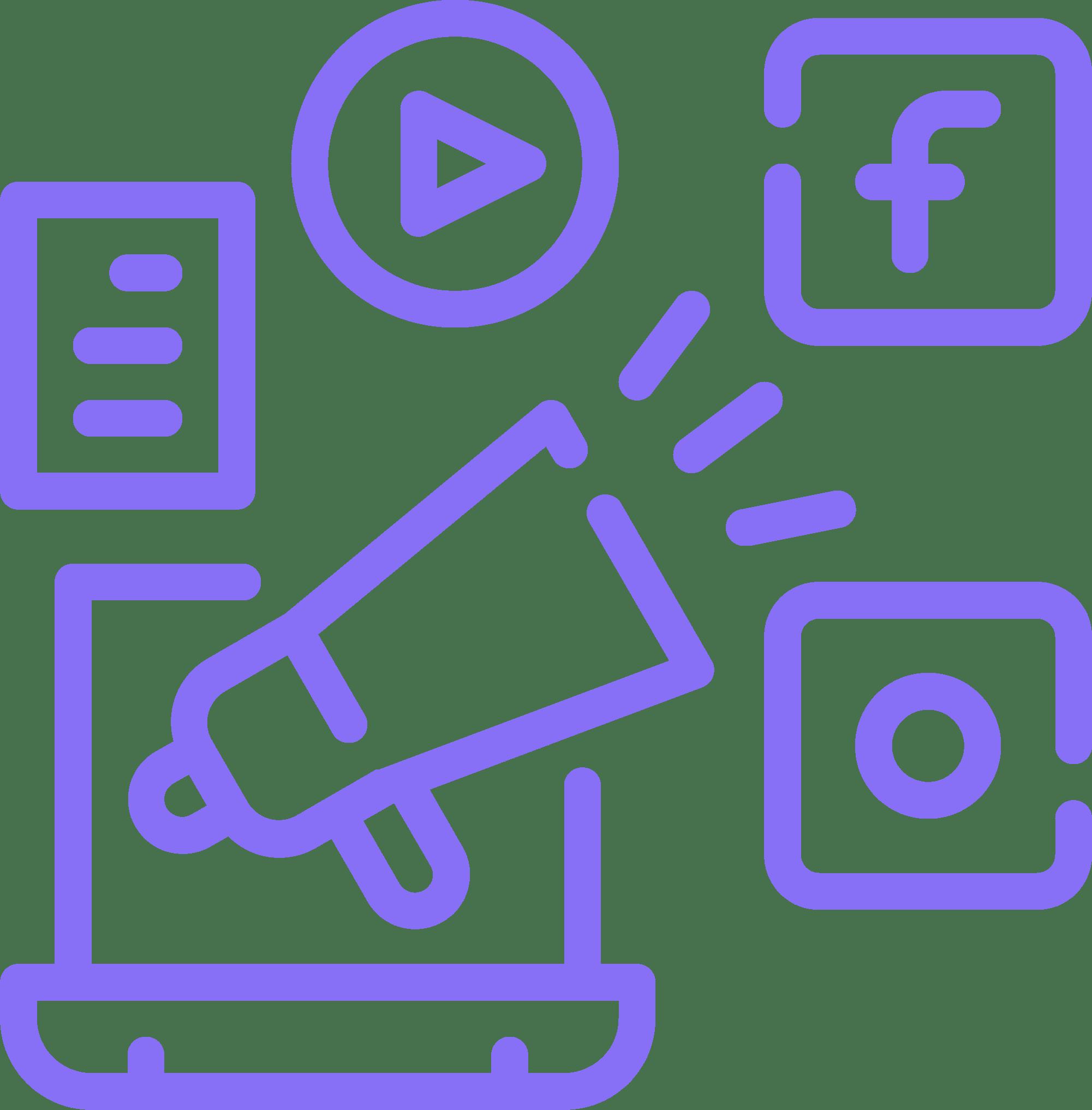 marketing icon with social media logos