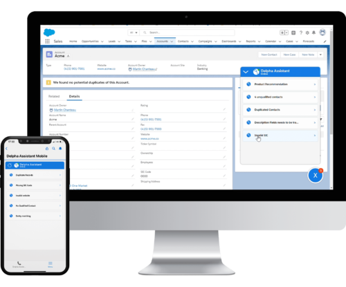 Delpha delivers all of its features inside Salesforce to improve data quality and all are mobile-friendly