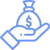 hand with bag of money icon