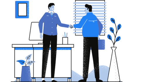 Handshake with customer to show a good experience